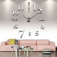 office wall clocks large. extra large wall clock modern house office 3d decor silver round glamour silent clocks a