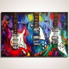 guitar painting on canvas music wall art les paul flying v strat original on wall paintings artistic with best 200 rafitas favorite paints images on pinterest butterflies