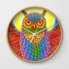 colorful rainbow owl wall clock by