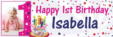 1st birthday banner happy 1st birthday spots theme banner