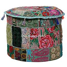 Stylo Culture <b>Cotton Patchwork Pouffe</b> Seat Embroidered <b>Ottoman</b> ...