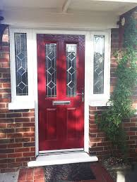 beautiful red altmore composite door with simplicity glass design and high quality rehau upvc