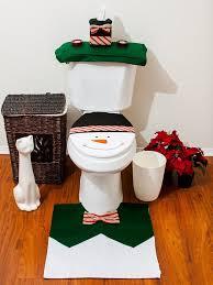 santa bathroom toilet seat cover and rug set green snowman