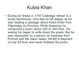 the th century literature ppt video online  kubla khan