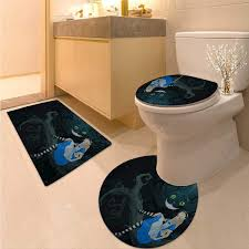 anhuthree alice in wonderland toilet rug and mat set alice sitting on branch and chescire cat in darkness cartoon style non slip bath shower rug multicolor