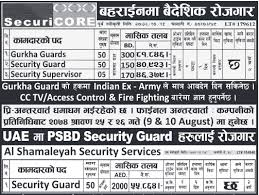 Security Guard Job Demands From Bahrain And Uae