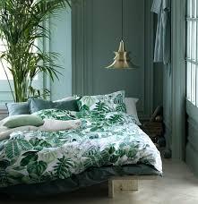com botanical tropical plants bedding duvet cover set modern emerald green jungle leaves emerald green double