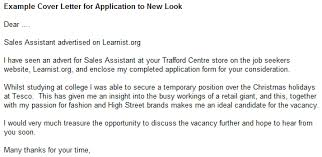 An Example Of A Cover Letters Example Cover Letter For Application To New Look Learnist Org