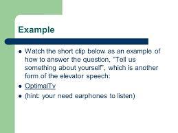 Elavator Speech
