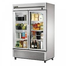 glass double door fridge