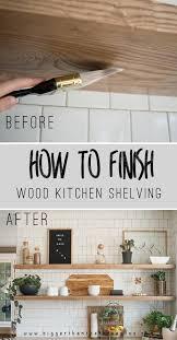 floating wood kitchen shelves how to finish diy kitchen floating shelves
