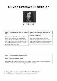 oliver cromwell hero or villain worksheet lesson resource  oliver cromwell hero or villain