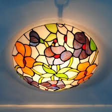 2018 e26 e27 vintage tiffany flowers stained glass flushmount lighting fixtures 12 inch european tiffanylamp ceiling light lamp cl329 from jinyucao