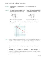 olympic college topic 7 graphing a linear equation example 2 sketch the graph of