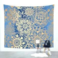 wall hanging designs wall tapestry ideas blue and gold mandala pattern wall tapestry decorating ideas for
