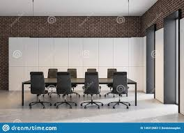 Meeting Room Wall Design White And Brick Conference Room Interior Stock Illustration