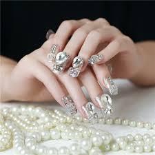 20pc Bride Shining Nail Art False Nails Decorations Rhinestones ...