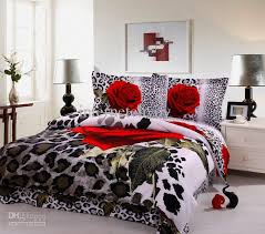Promotion! Sexy red rose leopard print egyptian cotton bedding ... & Sexy red rose leopard print egyptian cotton bedding queen king super-king  duvet cover flat sheet comforter set 4/5pc home textile Adamdwight.com