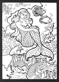 Printable Mermaid Coloring Pages For Adults Coloringstar