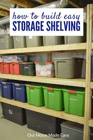 organize your totes with this diy storage shelving and make them for a budget