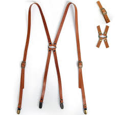 new mens leather suspenders x back retro braces belts brass clip on brown