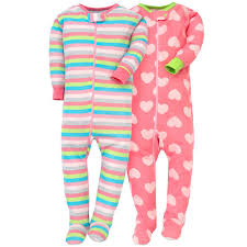 2-Pack Girls Hearts \u0026 Stripes Snug Fit Footed PJs Baby Girl Sleepwear | Gerber Childrenswear