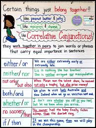 Subject And Verb Agreement Anchor Chart Teaching Correlative Conjunctions Upper Elementary Snapshots