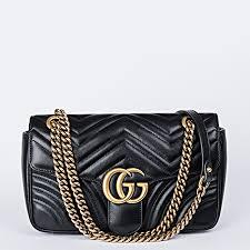article picture gucci gg marmont small matelassé black leather shoulder bag