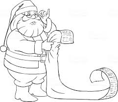 Santa Claus Reads From Christmas List Coloring Page Stock Vector Art