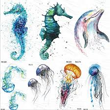 7Pcs Seahorse <b>Dolphin</b> Ocean <b>Temporary</b> Tattoos Sticker ...