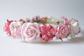 Paper Flower Headbands Paper Flower Crown Headband Wedding Pink Soft Pink Pink Pink