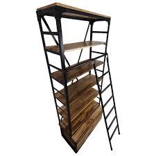 Bücherregal Holz Regal Mit Leiter 80 X 200 Metall Schwarz Industrial Design