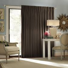 Interesting Dark Brown Fabric Sliding Curtain Doors For Glass Entry Doors  As Well As Simple Style As Modern Drapes Ideas Also Vintage Accent Wood  Armchairs ...