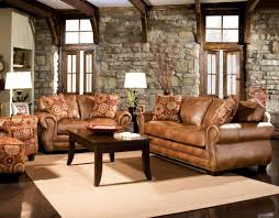 Mission Living Room Set Living Room Glamorous Mission Rustic Brown Faux Leather Sofa