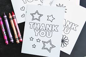 A sheet of thicker paper printed having a photo and all you need to do is indication and mail! Free Printable Thank You Cards For Kids To Color Send Sunny Day Family
