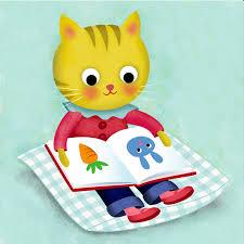 reading open book cartoon kitten reading claire louise milne