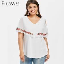 <b>PlusMiss Plus Size 5XL</b> 4XL Cold Shoulder Floral Embroidered ...
