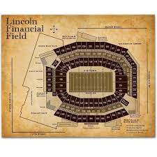 Lincoln Financial Field Football Seating Chart 11x14 Unframed Art Print Great Sports Bar Decor And Gift Under 15 For Football Fans