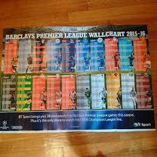 Premier League Wall Chart Premier League Mail Sunday Giant Premier League Fixtures