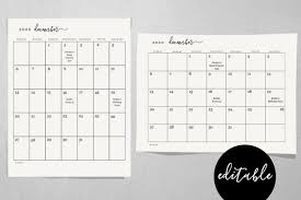 editable monthly calendar template editable monthly calendar template printable 2019 and 2020 desk month calendar simple black white pdf instant download digital file
