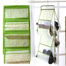 Creative Idea:Creative White Modern Hanging Handbags Hanger Design Inside  Wardrobe Green Plastic Pockets Hanging