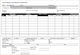 Travel Expense Allowance Claim Form Word Document Templates