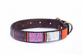 leather beaded dog collar red silver pink white orange brown