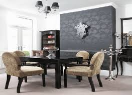 dining room contemporary chairs wooden finish varnished rectangular table black wood cabinet glass doors twin pendant black wood dining room
