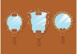 hand holding antique mirror. vintage hand mirror vectors holding antique