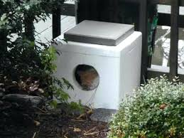 warm outdoor cat house simple outside cat house made from cooler fill with straw cement stone