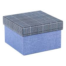 Decorative Gift Boxes With Lids Square Blue Box with Plaid Lid The Container Store 6