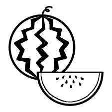 スイカ1夏の食べ物夏のイラスト無料白黒イラスト素材