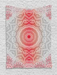 grey and red tapestry boho zen mandala