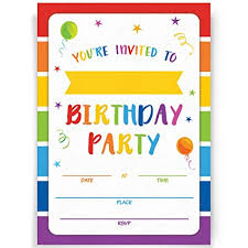 Birthday Invatations Birthday Party Invitations 20 Invitations And Envelopes Rainbow Party Invites Ideas And Supplies